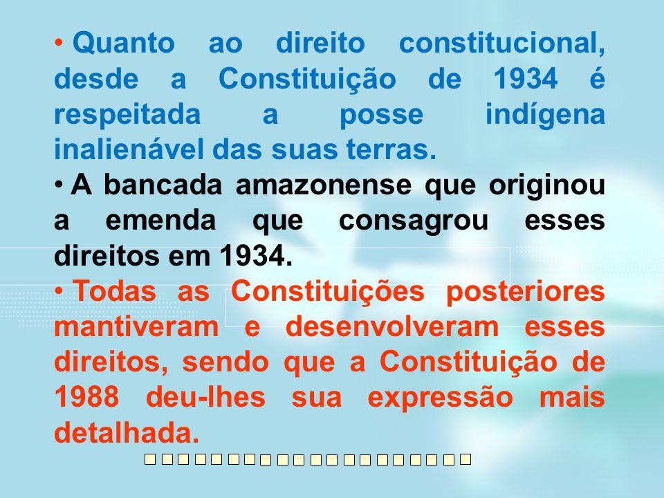 Quanto ao direito constitucional, desde a Constituição de 1934 é respeitada a posse indígena inalienável das suas terras. A bancada amazonense que ori