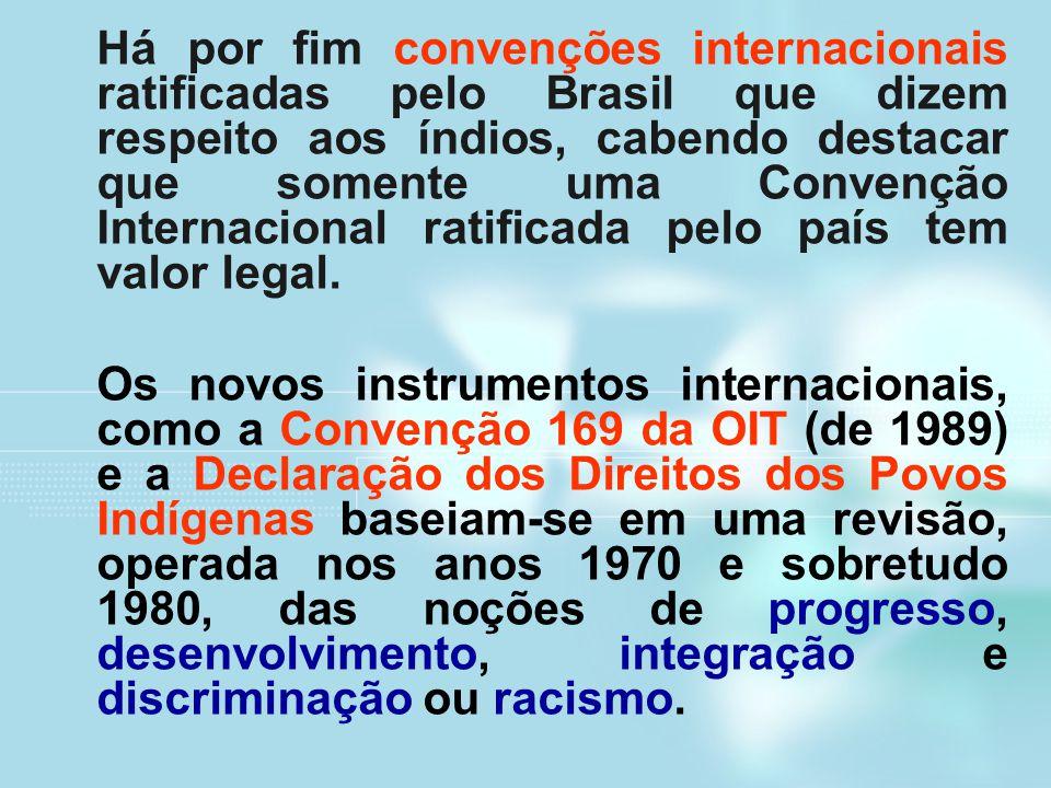Há por fim convenções internacionais ratificadas pelo Brasil que dizem respeito aos índios, cabendo destacar que somente uma Convenção Internacional r