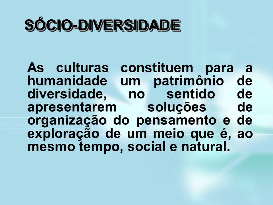 SÓCIO-DIVERSIDADESÓCIO-DIVERSIDADE As culturas constituem para a humanidade um patrimônio de diversidade, no sentido de apresentarem soluções de organ