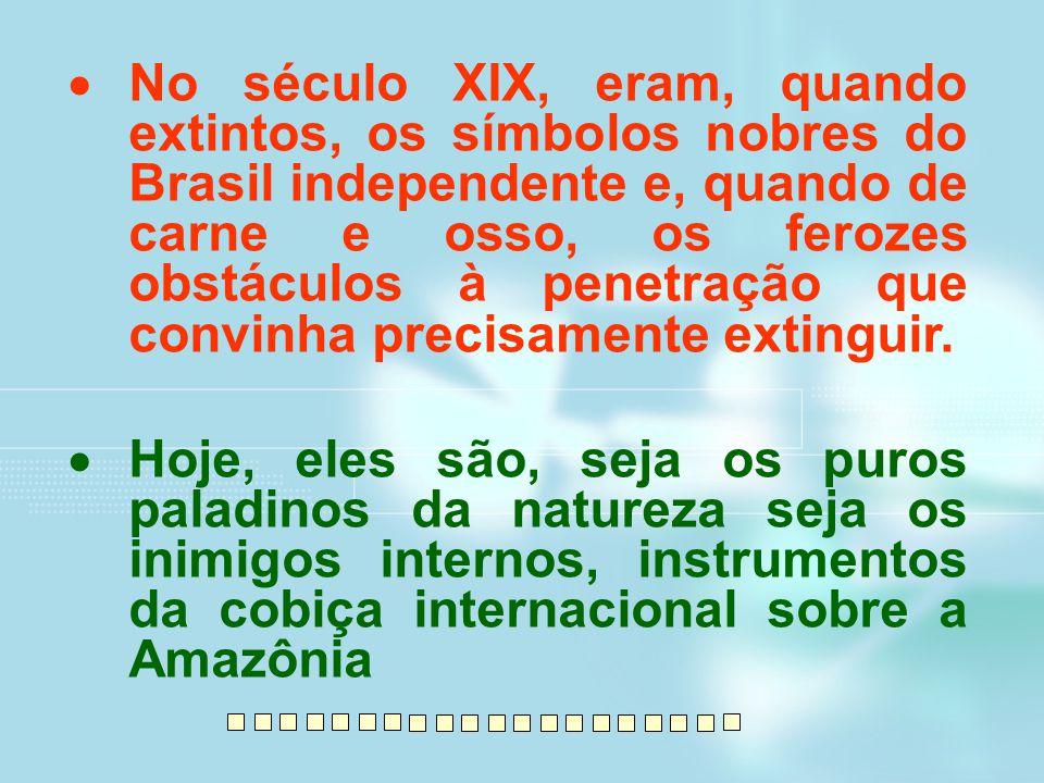  No século XIX, eram, quando extintos, os símbolos nobres do Brasil independente e, quando de carne e osso, os ferozes obstáculos à penetração que co