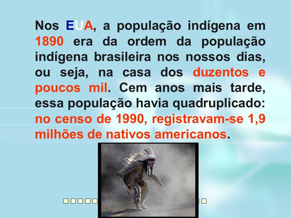 Nos EUA, a população indígena em 1890 era da ordem da população indígena brasileira nos nossos dias, ou seja, na casa dos duzentos e poucos mil. Cem a