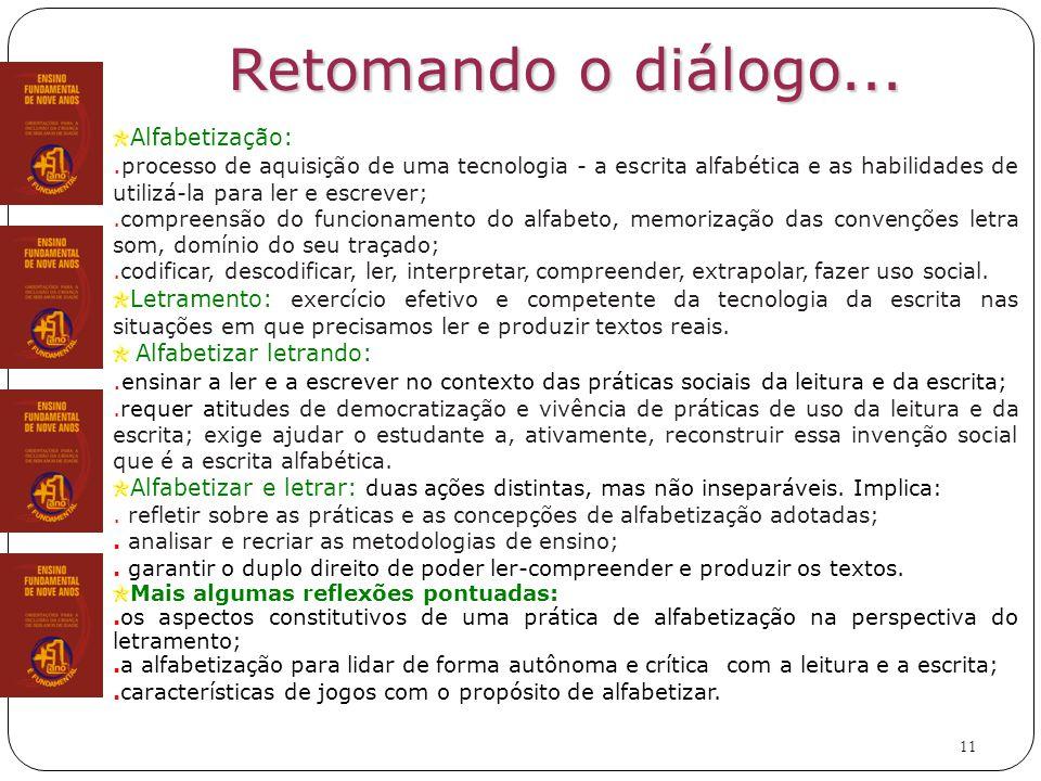 11 Retomando o diálogo...Alfabetização:.