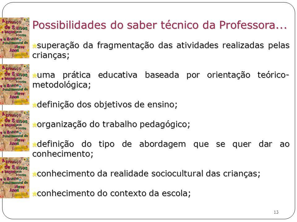 13 Possibilidades do saber técnico da Professora...