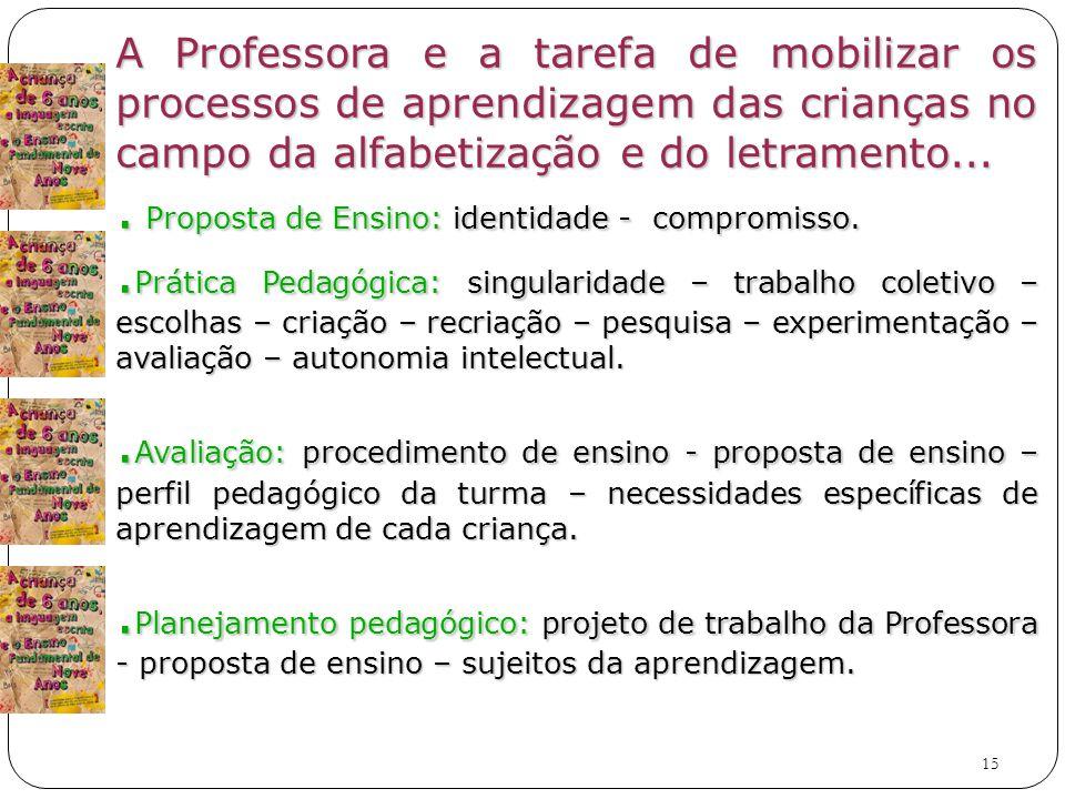 15 A Professora e a tarefa de mobilizar os processos de aprendizagem das crianças no campo da alfabetização e do letramento....