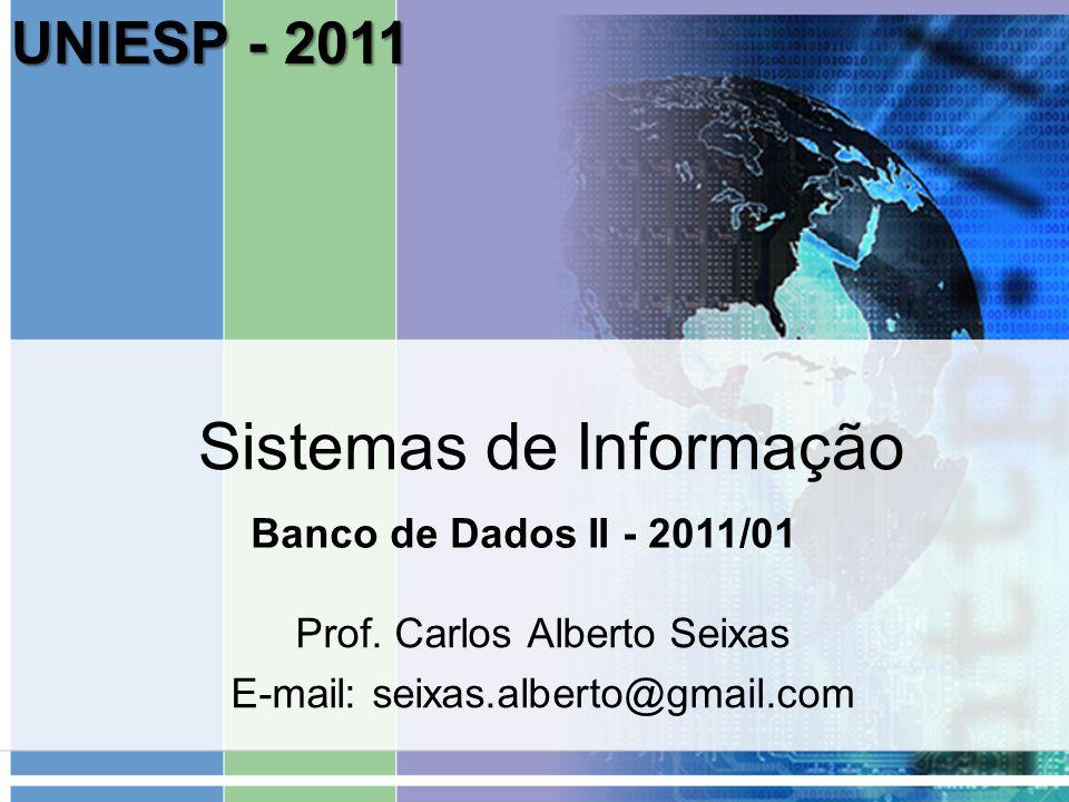 Sistemas de Informação Prof. Carlos Alberto Seixas E-mail: seixas.alberto@gmail.com Banco de Dados II - 2011/01 UNIESP - 2011
