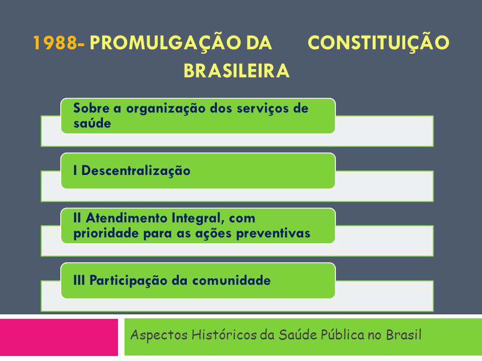 1988- PROMULGAÇÃO DA CONSTITUIÇÃO BRASILEIRA Aspectos Históricos da Saúde Pública no Brasil Sobre a organização dos serviços de saúde I Descentralização II Atendimento Integral, com prioridade para as ações preventivas III Participação da comunidade