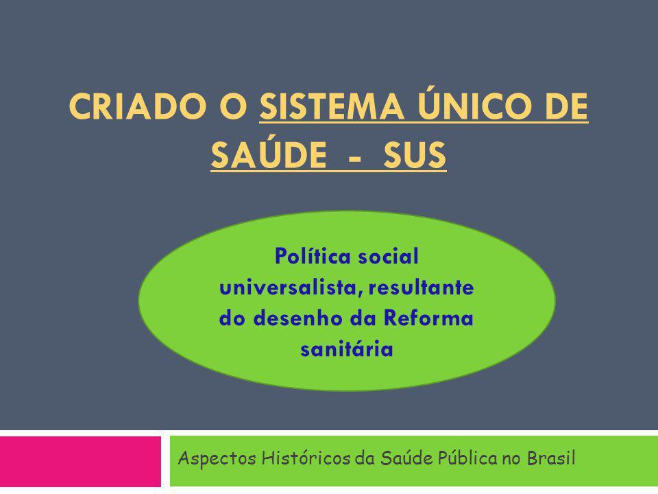 CRIADO O SISTEMA ÚNICO DE SAÚDE - SUS Aspectos Históricos da Saúde Pública no Brasil Política social universalista, resultante do desenho da Reforma sanitária