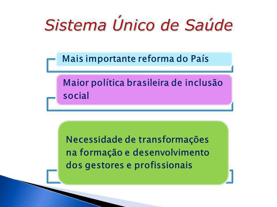 Mais importante reforma do País Maior política brasileira de inclusão social Necessidade de transformações na formação e desenvolvimento dos gestores e profissionais