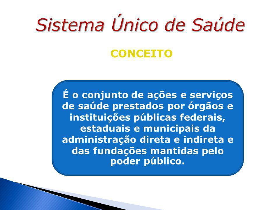 CONCEITO É o conjunto de ações e serviços de saúde prestados por órgãos e instituições públicas federais, estaduais e municipais da administração direta e indireta e das fundações mantidas pelo poder público.