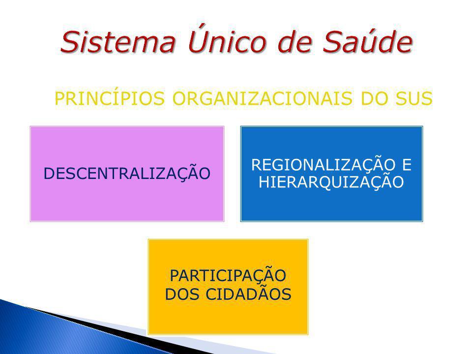 PRINCÍPIOS ORGANIZACIONAIS DO SUS DESCENTRALIZAÇÃO REGIONALIZAÇÃO E HIERARQUIZAÇÃO PARTICIPAÇÃO DOS CIDADÃOS