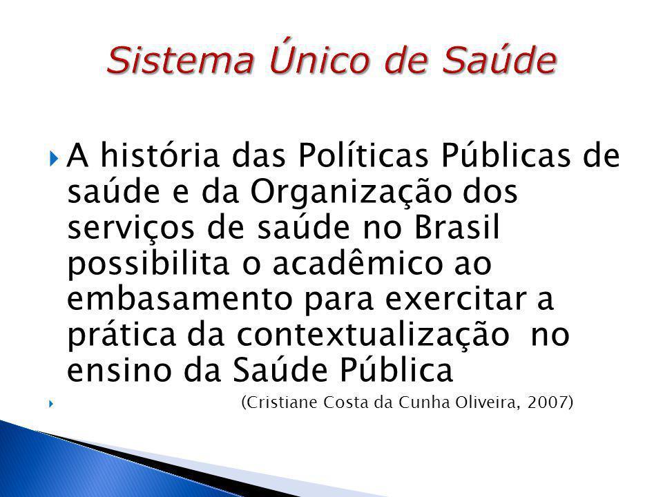  A história das Políticas Públicas de saúde e da Organização dos serviços de saúde no Brasil possibilita o acadêmico ao embasamento para exercitar a