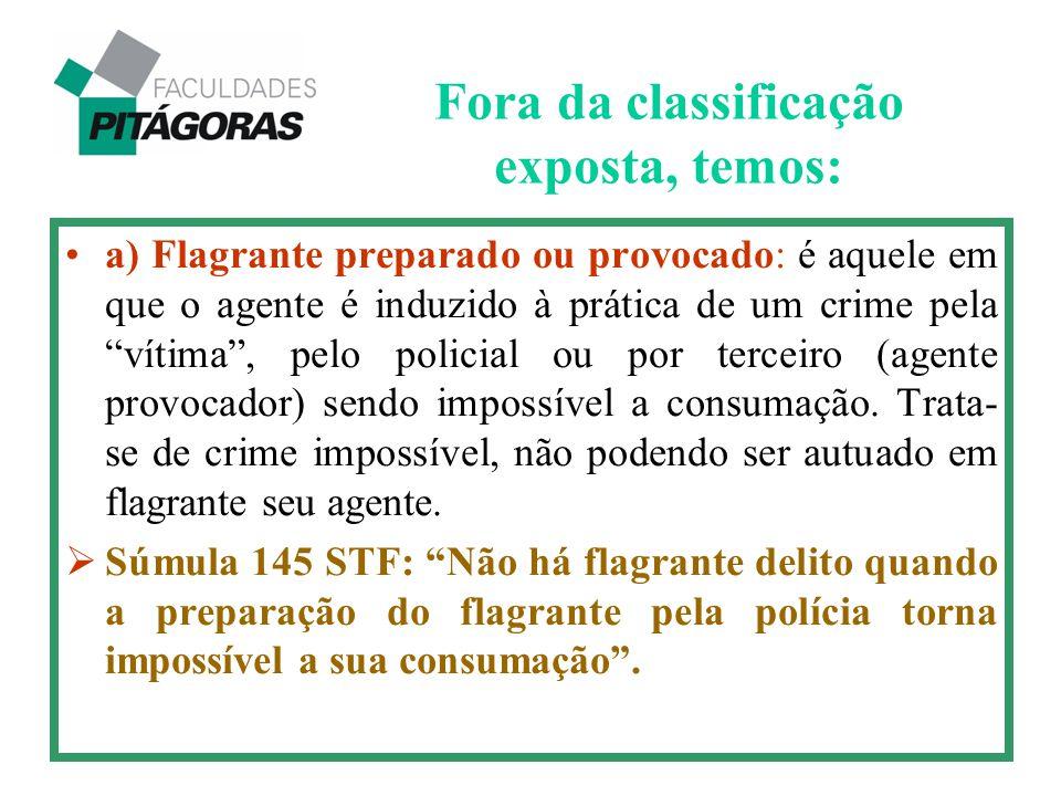 """Fora da classificação exposta, temos: a) Flagrante preparado ou provocado: é aquele em que o agente é induzido à prática de um crime pela """"vítima"""", pe"""