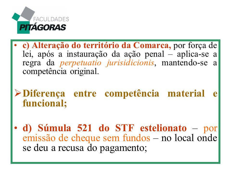 c) Alteração do território da Comarca, por força de lei, após a instauração da ação penal – aplica-se a regra da perpetuatio jurisidicionis, mantendo-