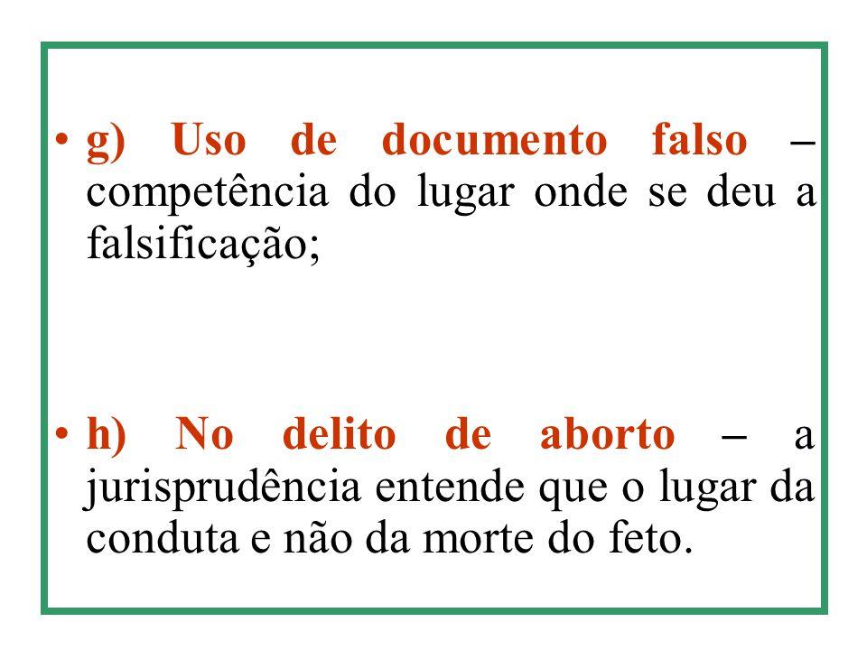 g) Uso de documento falso – competência do lugar onde se deu a falsificação; h) No delito de aborto – a jurisprudência entende que o lugar da conduta