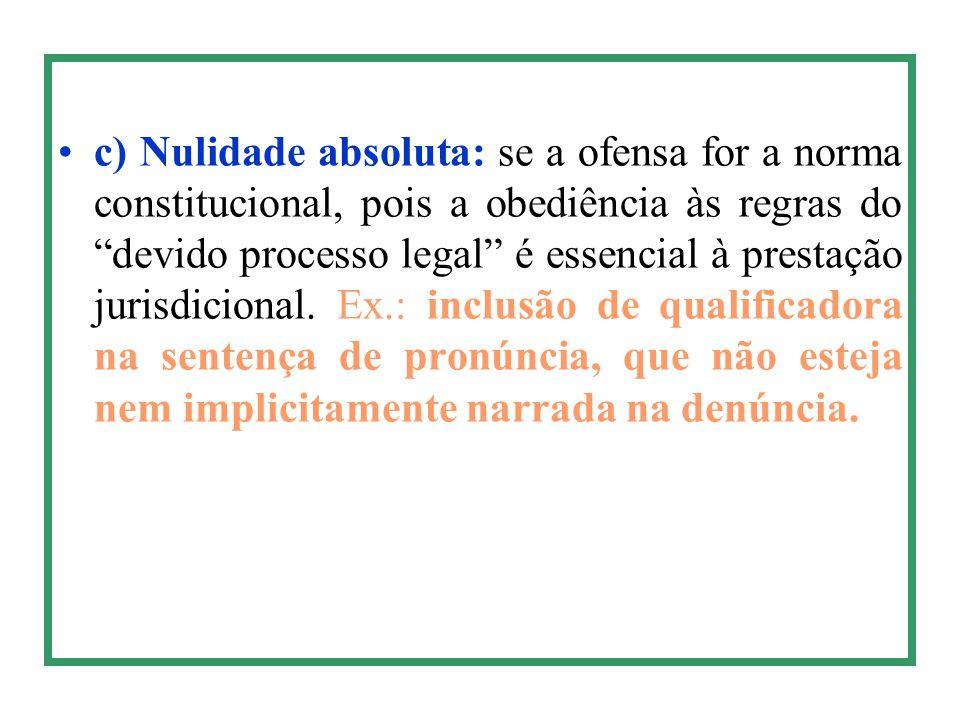 """c) Nulidade absoluta: se a ofensa for a norma constitucional, pois a obediência às regras do """"devido processo legal"""" é essencial à prestação jurisdici"""
