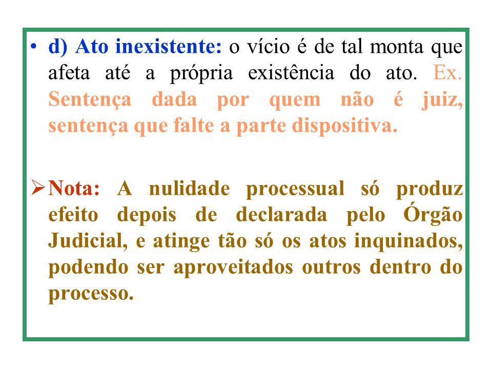 d) Ato inexistente: o vício é de tal monta que afeta até a própria existência do ato. Ex. Sentença dada por quem não é juiz, sentença que falte a part
