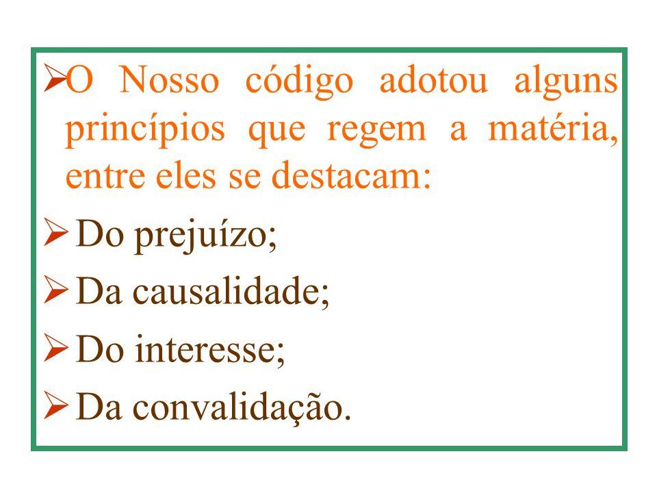  O Nosso código adotou alguns princípios que regem a matéria, entre eles se destacam:  Do prejuízo;  Da causalidade;  Do interesse;  Da convalida