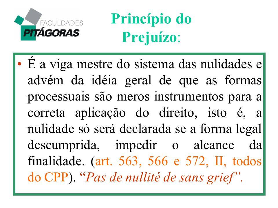 Princípio do Prejuízo: É a viga mestre do sistema das nulidades e advém da idéia geral de que as formas processuais são meros instrumentos para a corr