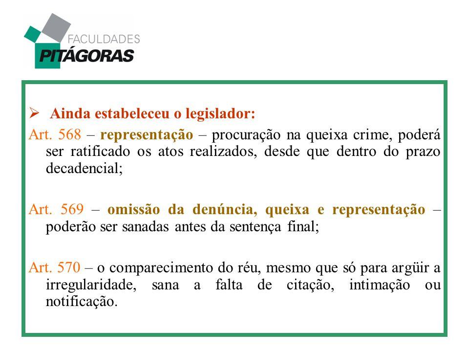  Ainda estabeleceu o legislador: Art. 568 – representação – procuração na queixa crime, poderá ser ratificado os atos realizados, desde que dentro do
