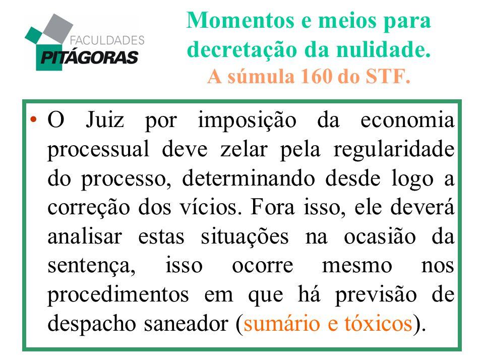 Momentos e meios para decretação da nulidade. A súmula 160 do STF. O Juiz por imposição da economia processual deve zelar pela regularidade do process