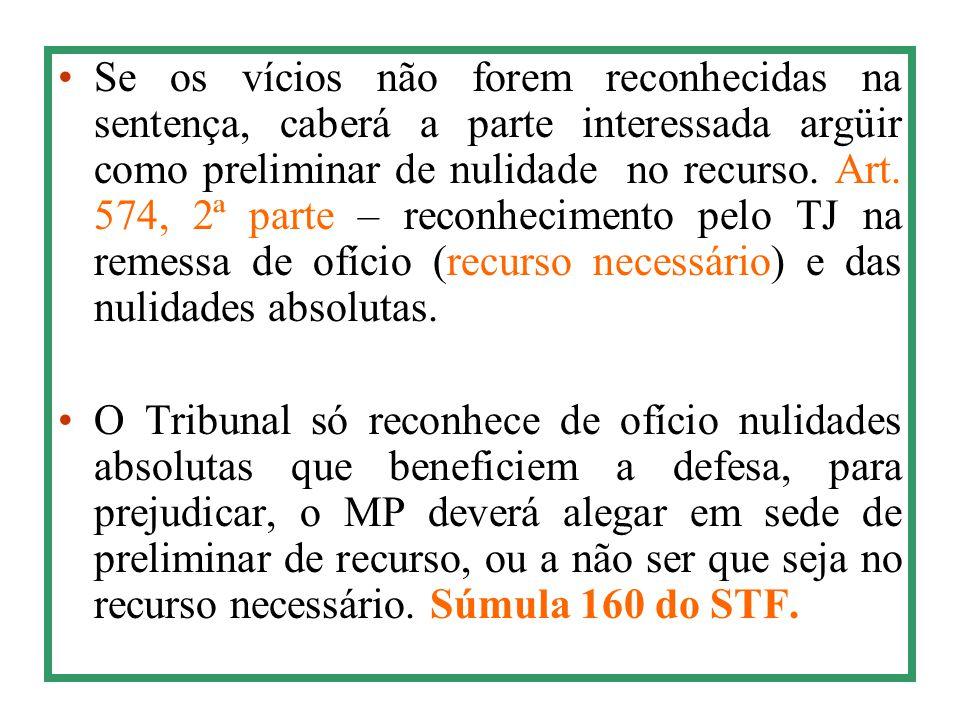 Se os vícios não forem reconhecidas na sentença, caberá a parte interessada argüir como preliminar de nulidade no recurso. Art. 574, 2ª parte – reconh