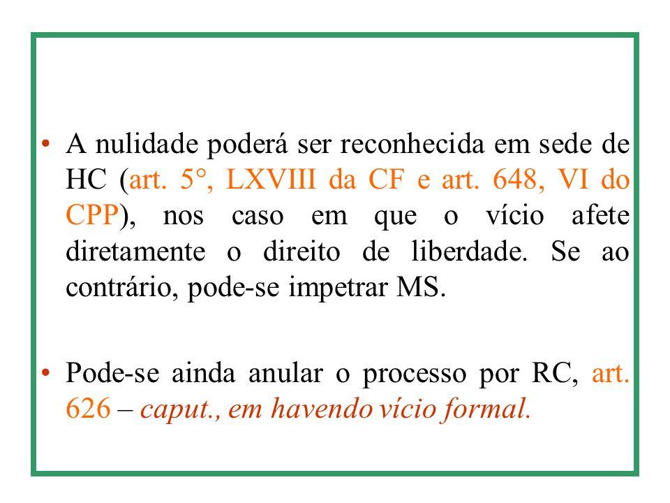 A nulidade poderá ser reconhecida em sede de HC (art. 5°, LXVIII da CF e art. 648, VI do CPP), nos caso em que o vício afete diretamente o direito de