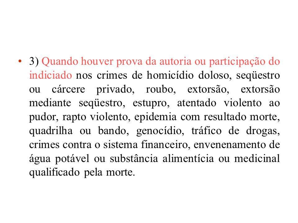 3) Quando houver prova da autoria ou participação do indiciado nos crimes de homicídio doloso, seqüestro ou cárcere privado, roubo, extorsão, extorsão