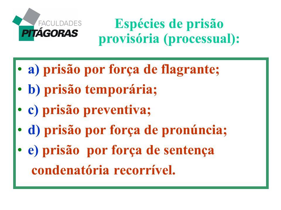 a) prisão por força de flagrante; b) prisão temporária; c) prisão preventiva; d) prisão por força de pronúncia; e) prisão por força de sentença conden