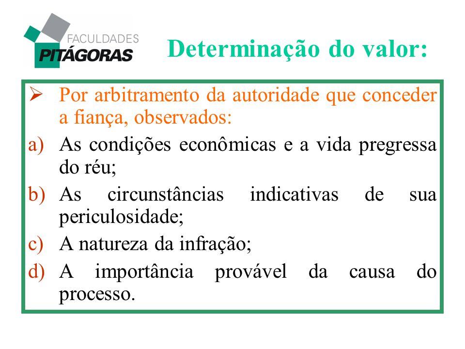  Por arbitramento da autoridade que conceder a fiança, observados: a)As condições econômicas e a vida pregressa do réu; b)As circunstâncias indicativ