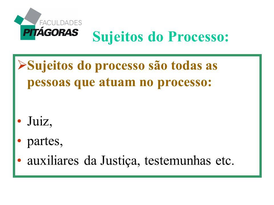  Sujeitos do processo são todas as pessoas que atuam no processo: Juiz, partes, auxiliares da Justiça, testemunhas etc. Sujeitos do Processo: