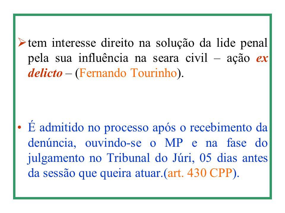  tem interesse direito na solução da lide penal pela sua influência na seara civil – ação ex delicto – (Fernando Tourinho). É admitido no processo ap