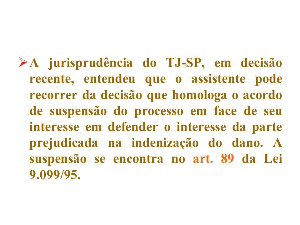  A jurisprudência do TJ-SP, em decisão recente, entendeu que o assistente pode recorrer da decisão que homologa o acordo de suspensão do processo em