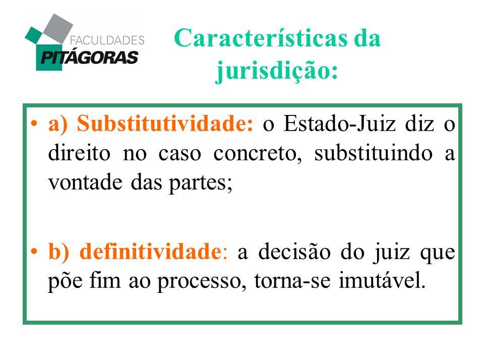 a) Substitutividade: o Estado-Juiz diz o direito no caso concreto, substituindo a vontade das partes; b) definitividade: a decisão do juiz que põe fim