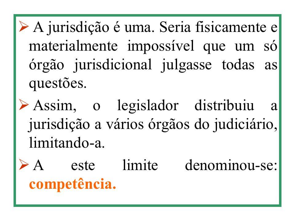  A jurisdição é uma. Seria fisicamente e materialmente impossível que um só órgão jurisdicional julgasse todas as questões.  Assim, o legislador dis