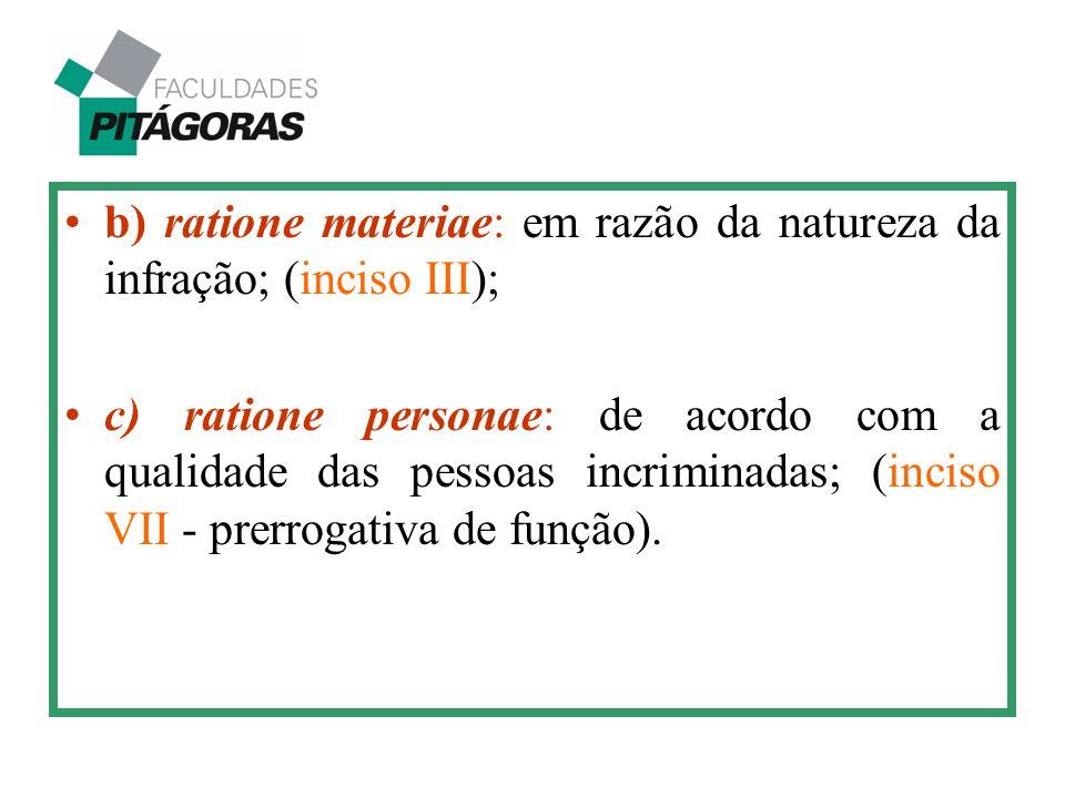 b) ratione materiae: em razão da natureza da infração; (inciso III); c) ratione personae: de acordo com a qualidade das pessoas incriminadas; (inciso