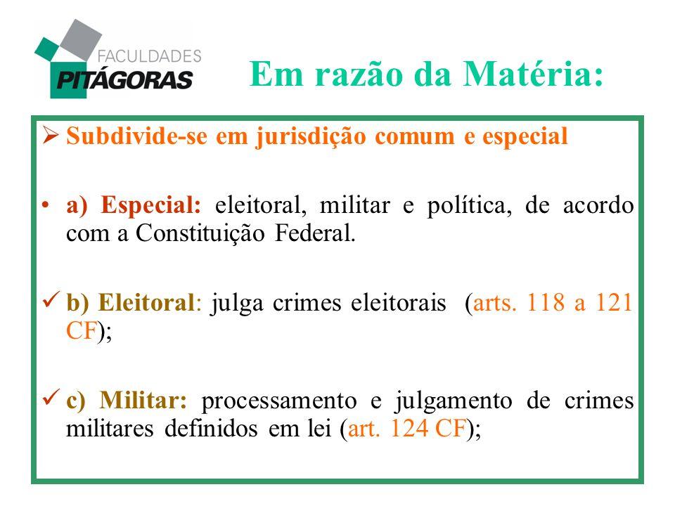  Subdivide-se em jurisdição comum e especial a) Especial: eleitoral, militar e política, de acordo com a Constituição Federal. b) Eleitoral: julga cr