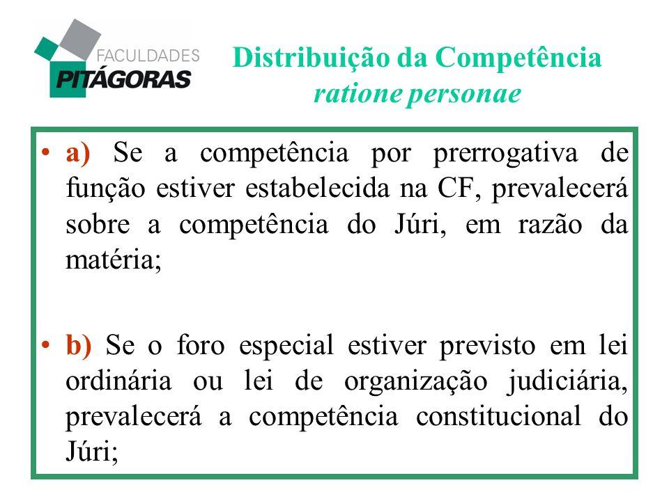 a) Se a competência por prerrogativa de função estiver estabelecida na CF, prevalecerá sobre a competência do Júri, em razão da matéria; b) Se o foro