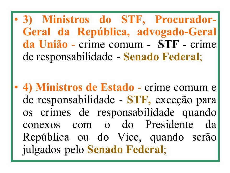 3) Ministros do STF, Procurador- Geral da República, advogado-Geral da União - crime comum - STF - crime de responsabilidade - Senado Federal; 4) Mini