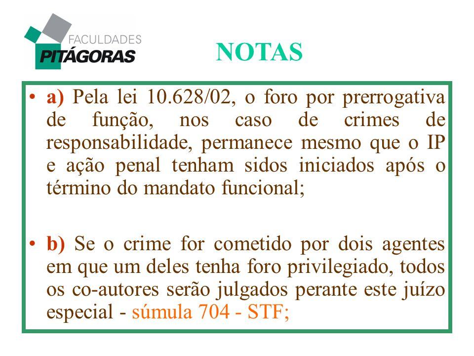 a) Pela lei 10.628/02, o foro por prerrogativa de função, nos caso de crimes de responsabilidade, permanece mesmo que o IP e ação penal tenham sidos i