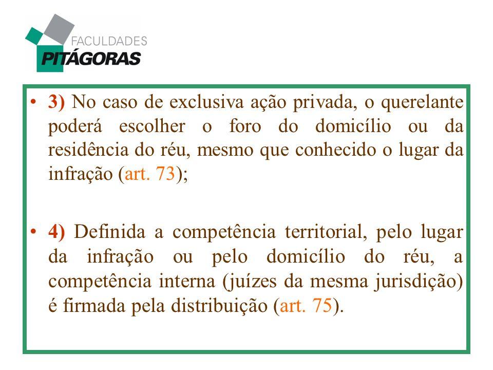 3) No caso de exclusiva ação privada, o querelante poderá escolher o foro do domicílio ou da residência do réu, mesmo que conhecido o lugar da infraçã