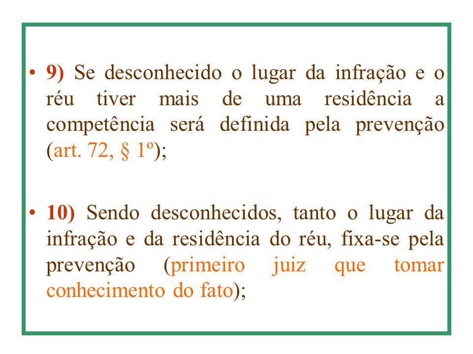 9) Se desconhecido o lugar da infração e o réu tiver mais de uma residência a competência será definida pela prevenção (art. 72, § 1º); 10) Sendo desc