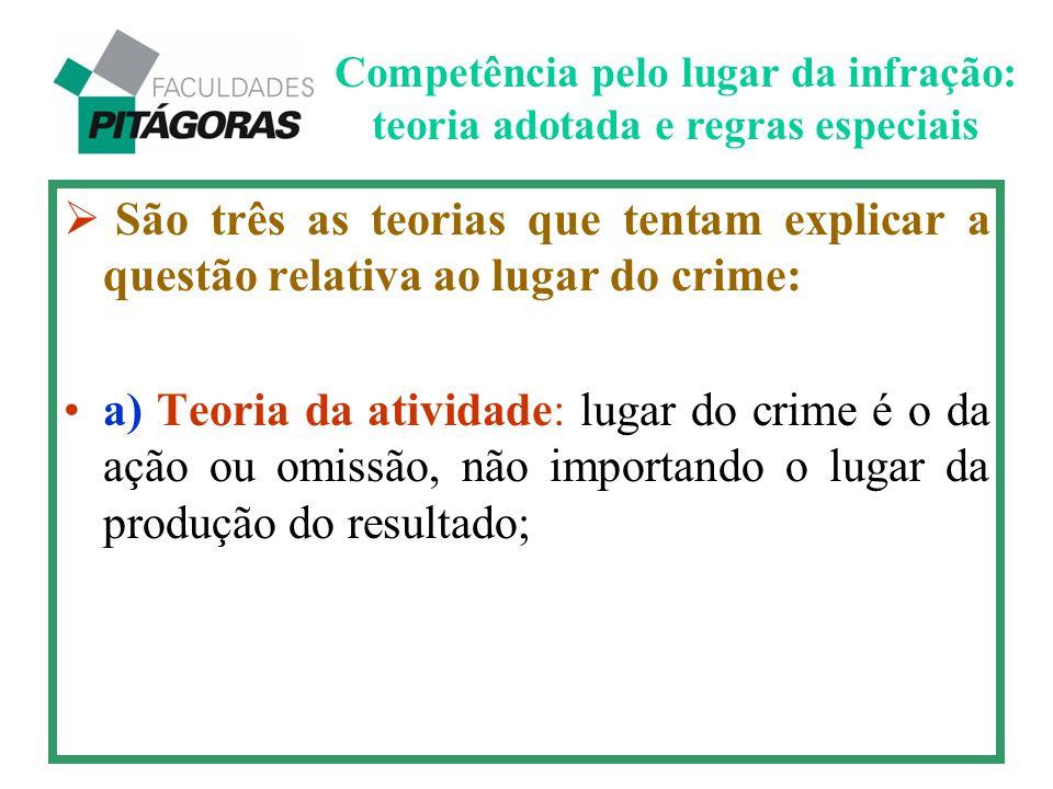  São três as teorias que tentam explicar a questão relativa ao lugar do crime: a) Teoria da atividade: lugar do crime é o da ação ou omissão, não imp