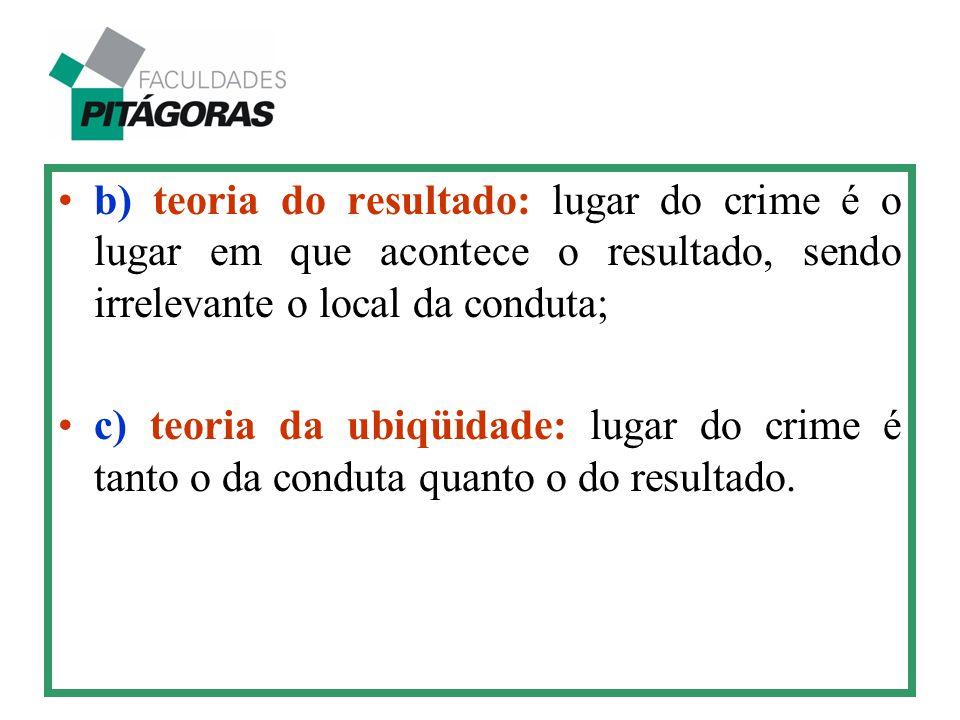 b) teoria do resultado: lugar do crime é o lugar em que acontece o resultado, sendo irrelevante o local da conduta; c) teoria da ubiqüidade: lugar do