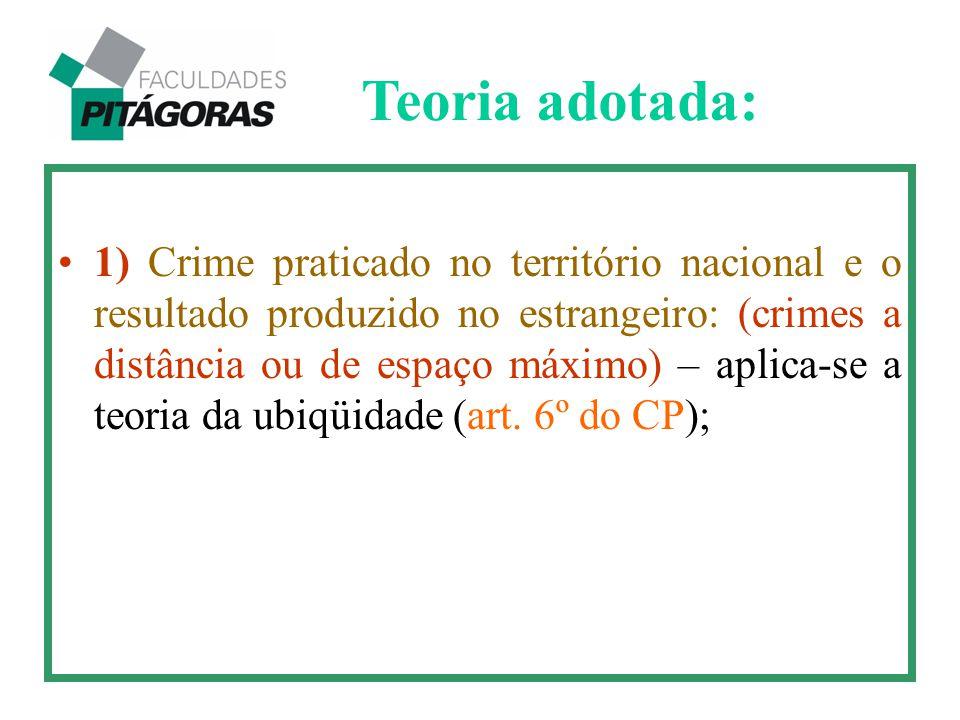 1) Crime praticado no território nacional e o resultado produzido no estrangeiro: (crimes a distância ou de espaço máximo) – aplica-se a teoria da ubi