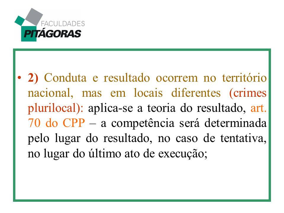 2) Conduta e resultado ocorrem no território nacional, mas em locais diferentes (crimes plurilocal): aplica-se a teoria do resultado, art. 70 do CPP –