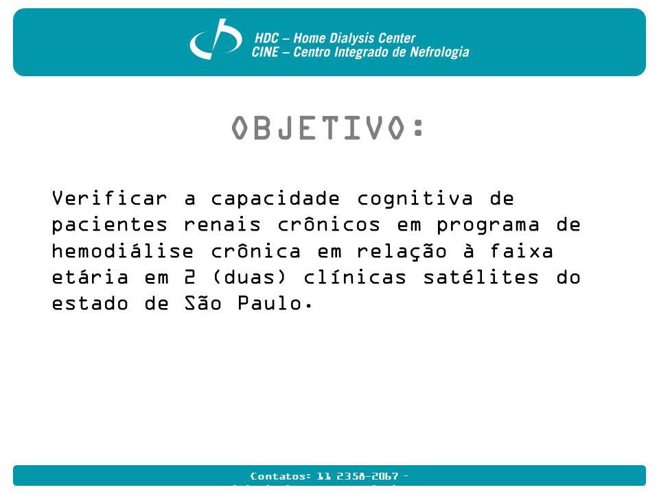 Contatos: 11 2358-2067 – multidisciplinarhome@hdcdialise.com.br OBJETIVO: Verificar a capacidade cognitiva de pacientes renais crônicos em programa de