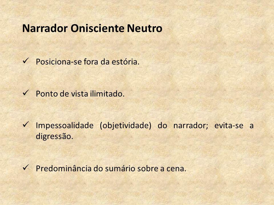 Narrador Onisciente Neutro Posiciona-se fora da estória.