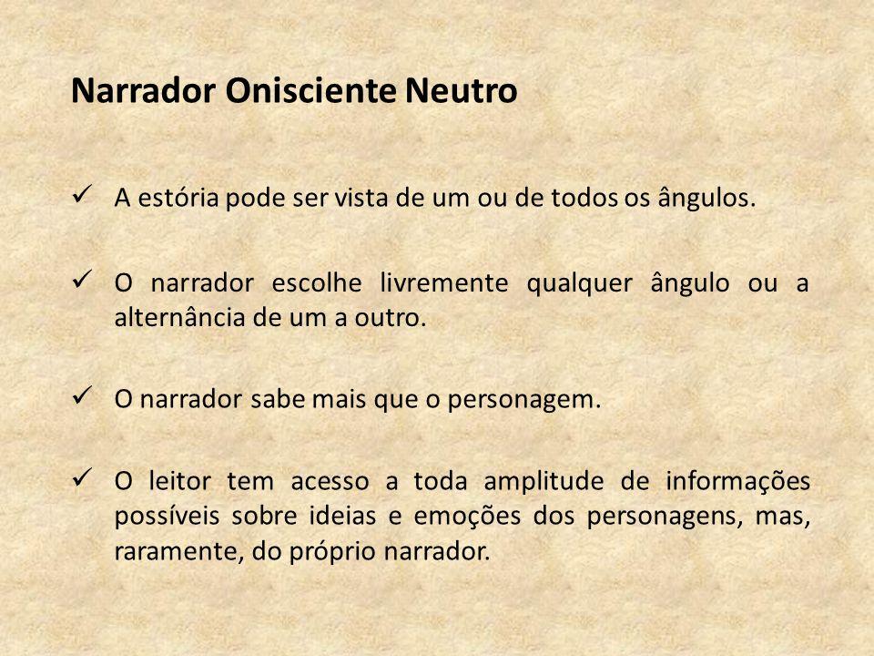 Narrador Onisciente Neutro A estória pode ser vista de um ou de todos os ângulos.