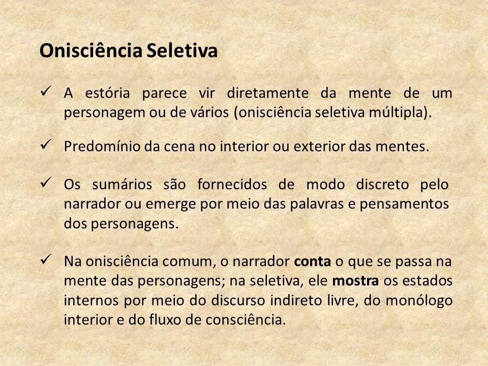 Onisciência Seletiva A estória parece vir diretamente da mente de um personagem ou de vários (onisciência seletiva múltipla).