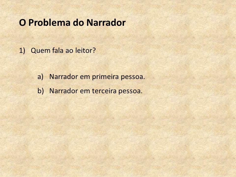 O Problema do Narrador 1)Quem fala ao leitor.a)Narrador em primeira pessoa.